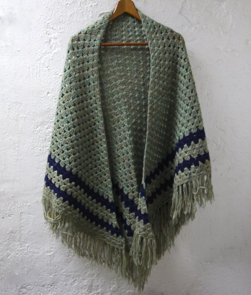 FOAK vintage blue-green scales dither triangular hollow Crochet Shawl