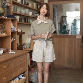 Linen Short Pants - Beige