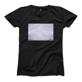 A scene at Sea - Black - female version of T-shirt