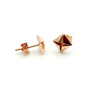 Origami Diamond Rose Gold 925 Minimal Earrings