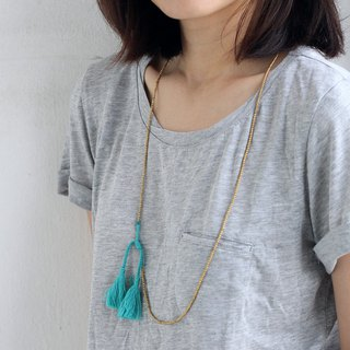 Blue Tassel Beaded Necklaces Long Skinny Wrap Brass Gold Bracelets Necklaces