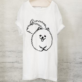 Pomeranian Pomeranian T-shirt (White / Gray) 【DOG】