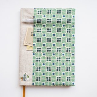 Mosaic and plants - adjustable A5 fabric bookcover