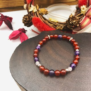 Warm Heart | Red Agate - Amethyst | Natural Stone 925 Silver Bracelet