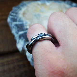 [stacked] 925 sterling silver ring (can be a couple ring / tail ring / stone pattern / rock)