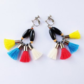 Colorful tassel earring in yellow/red/blue/cream and wooden beads