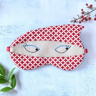 NINJA/Red/Shippo pattern/sleep mask
