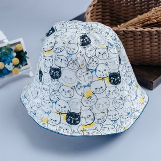Double-sided fisherman hat, cat hand, children's clothing, newborn baby, parent-child hat, fisherman