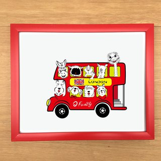 Q Family Hairy Double-decker Bus 10 吋 Photo Frame - Red