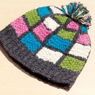 Limited Christmas gift hand-woven pure wool hat / knitted caps / bristles hand-woven caps / wool cap (made in nepal) - Grey color colorful geometric totem