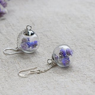Kawagoe glass flower ball purple earrings hand-made limited edition