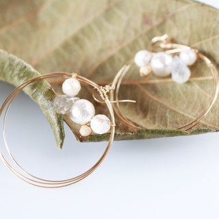 14kgf-Ivory bijou overlap hoop pierced earrings(can change to clip-on)