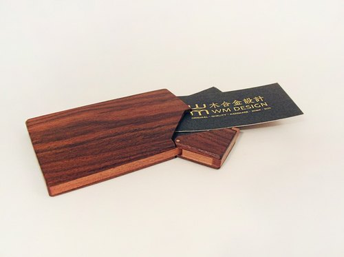 Special texture series / wood alloy design / handmade wood business card holder / wooden card case / black gold Tan
