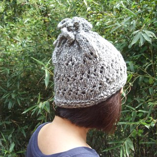 Handmade hand-made wool hat collar for two - dark gray/white color
