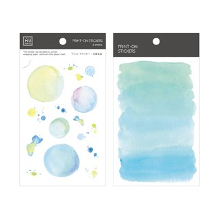 [Print-On Stickers] | Color Series 08 - Lake Blue Bubble Watercolor |