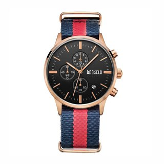 BAOGELA - VENICE Rose Gold Black Dial / Blue Red NATO Watch
