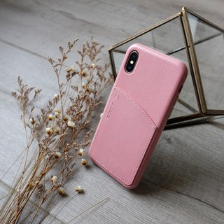 POSH | Faux Leather Hard Case with Pocket for iPhone X - Coral【Customize service】