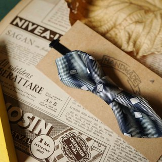 Antique Tie Remanufactured Handmade Bow Tie - Gradient Blue - Wide Edition