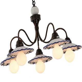 Country style ceramic plate 5 lamp chandelier