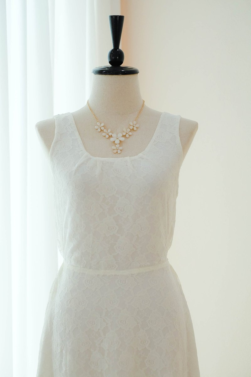 灰白色連衣裙蕾絲伴娘長連衣裙蝴蝶結舞會派對禮服