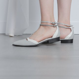 T word digging arc stitching flat shoes gray