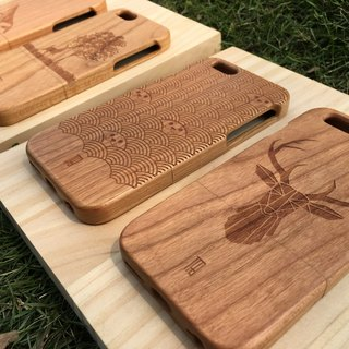 【TAB】 Wood texture mobile phone shell (animal series) / custom / elk / Wen Chuang / solid wood / wood / wood / hand made / laser engraving / iPhone phone shell / wedding small objects
