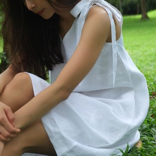 Foak Tie Top Dress in White