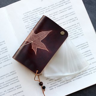 Maple Leaf Dark Brown Leather Ticket Card Holder Business Card Package Card Pack Business Card Set 15 Cards