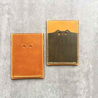 Handmade leather  pass case / cute cat leather card case / Personalized card case