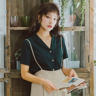 2018 summer new women's solid color suit collar short-sleeved shirt