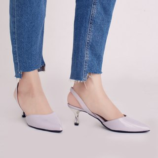 Hepburn Kitten! After the hollow retro little pointed shoes light purple full leather MIT