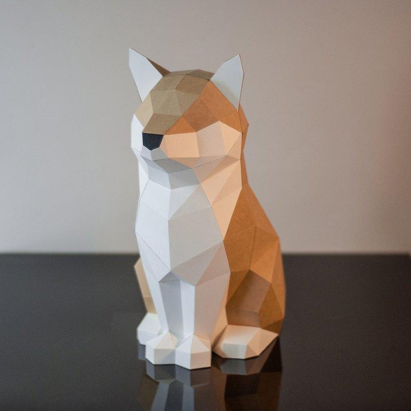 DIY手作3D紙模型擺飾 狗狗系列 -傲嬌屬性柴柴 (4色可選)