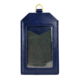 Alto Leather ID Card Set Badge Holder - Navy Blue [Additional Customized Letters]