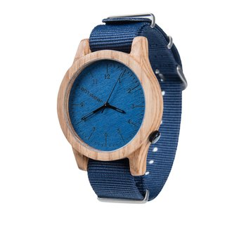 Plantwear European Handmade Solid Wood Watches - Heritage Series Oak - Sapphire Blue - Oak