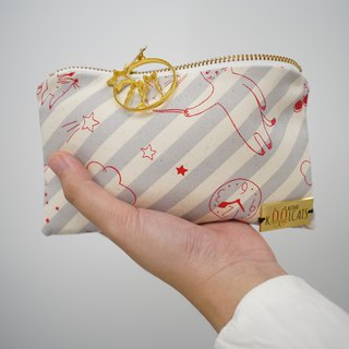 Zipper Pouch in Red Cats on Gray Stripes