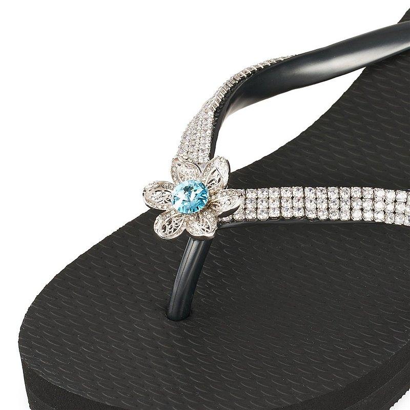 女款6cm厚底夾腳拖鞋-頂級首飾工藝水鑽-Flower水藍白鍊 爵士黑