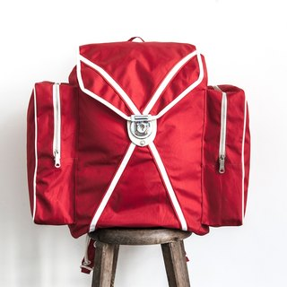 Vintage Camping Backpack Retro Red Color