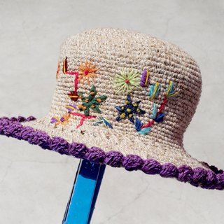 Valentine's Day gift limited a hand-woven cotton / hat / hat / fisherman hat / sun hat / straw hat / straw hat - Boho rainbow embroidery flowers forest wind (lavender purple)