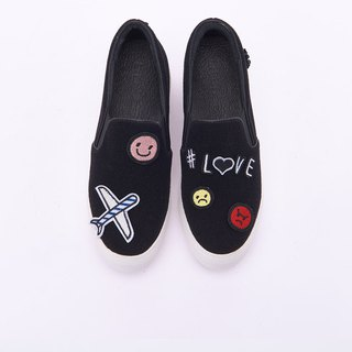 [My Advocacy] Free Collage Devil Felt Thick Shoes Loafers_Dream Black