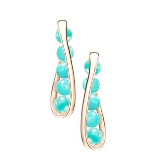 Turquoise 14k Yellow Gold Bar Earrings, Amazonite Teal Gemstone Stud Earrings