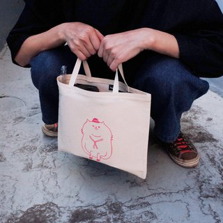 Canvas Tote / Eco Bag / Two Cups Drink Bag / Pensive Cat / Pink