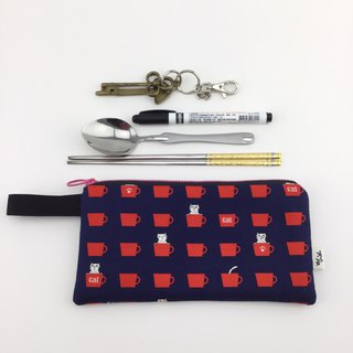 Cat peekaboo - cell phone pocket / pencil case / universal bag