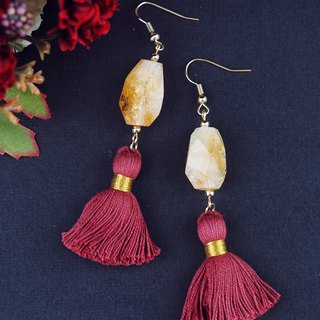 Citrine earrings/ Statement gemstone tassel earrings
