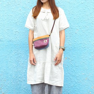 Maverick Village handmade small side backpack cloth bag Japanese [mini cross-body bag - sunset purple Xia] SH-04