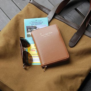 PLEPIC Stylish Light Travel Zip Passport Bag - Mocha Brown, PPC93709