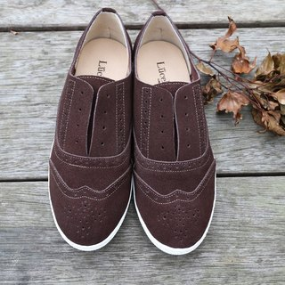 England adventure personalized carved casual shoes brown