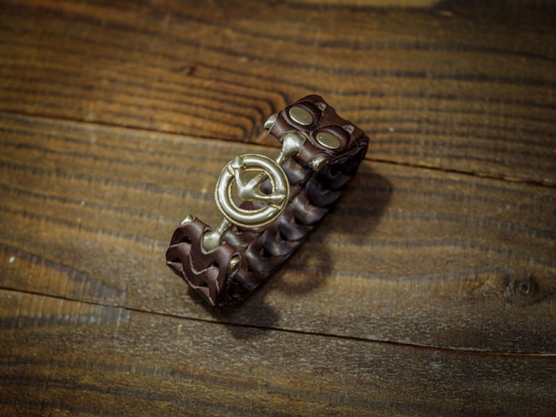 HEYOU Handmade -Leather Chain Bracelet Mail Leather Bracelet