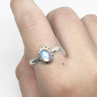 Moonlight stone 925 sterling silver lace ring Nepal handmade mosaic production (style 5)