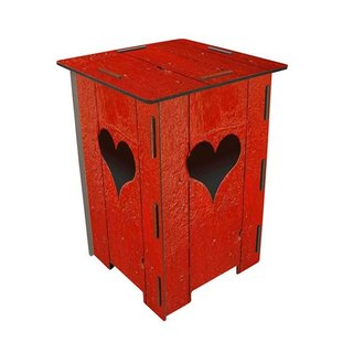 [Free shipping] Germany Werkhaus color printing classic wooden stool with storage box - red love house