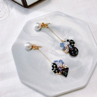 Cool fruit wild incense series - cotton cloud sugar hand-sewn dry flower sequins limited edition two ear clips / ear clips